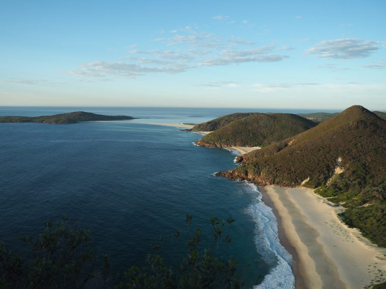 View of the Tomaree National Park coastline from Tomaree Headland to Point Stephens.