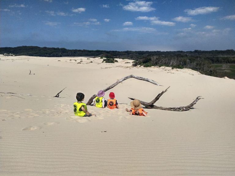 Nature Play session at Samurai Dunes, Tomaree National Park NSW.